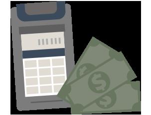 Calculator w money