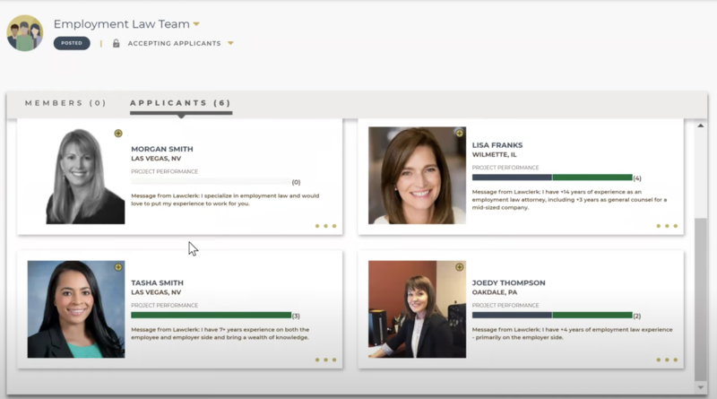 You can setup teams within LAWCLERK so you always have the right person for the task.