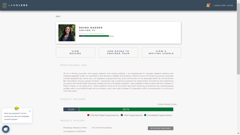 A sample of what a freelance lawyers page looks like with a resume, bio, experience, reviews, etc.