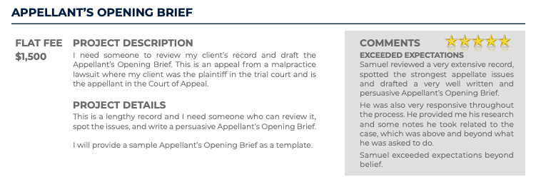 Appellant's Opening Brief (Flat fee: $1,500)