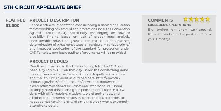 5th Circuit Appellate Brief (Flat fee: $2,500)