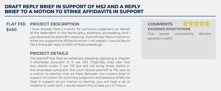 Draft Reply Brief in Support of MSJ and a Reply Brief to a Motion to Strike Affidavits in Support (Flat fee: $450)