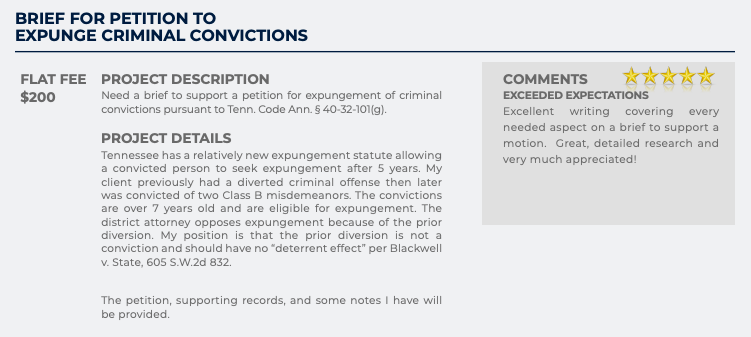 Brief for Petition to Expunge Criminal Conviction (Flat fee: $200)