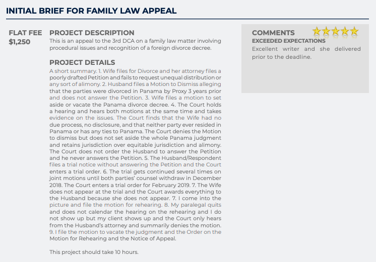 Initial Brief for Family Law Appeal (Flat fee: $1,250)