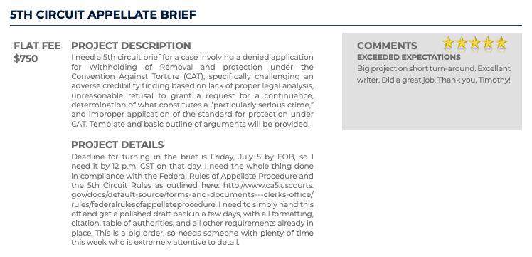 5th Circuit Appellate Brief (Flat fee: $750)