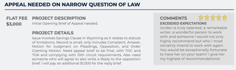 Appeal Needed on Narrow Question of Law (Flat fee: $3,000)