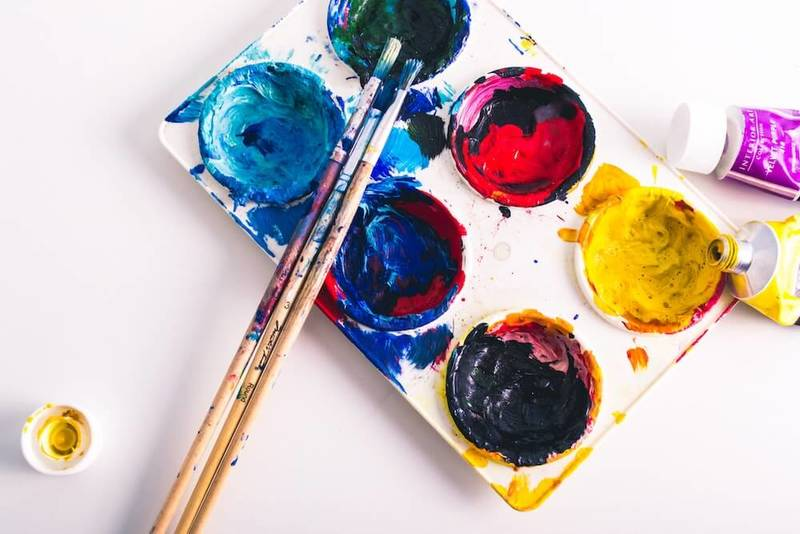 Being creative: A paint palette is on display with multiple colors.