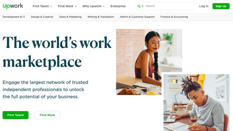 Upwork's homepage